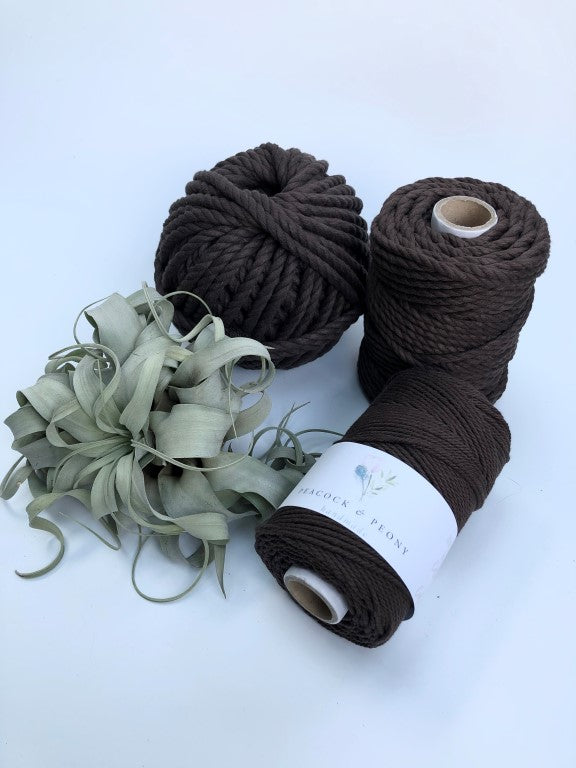 Dark brown, 6mm, 3-ply twisted rope - recycled cotton