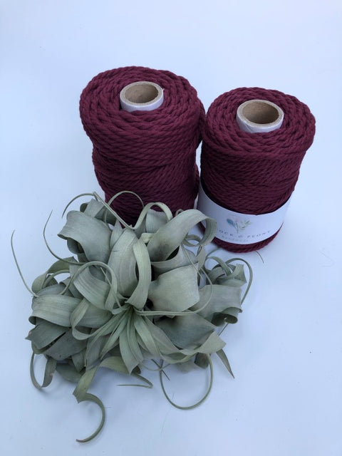 Garnet (dark red), 4mm, 3-ply twisted rope - recycled cotton