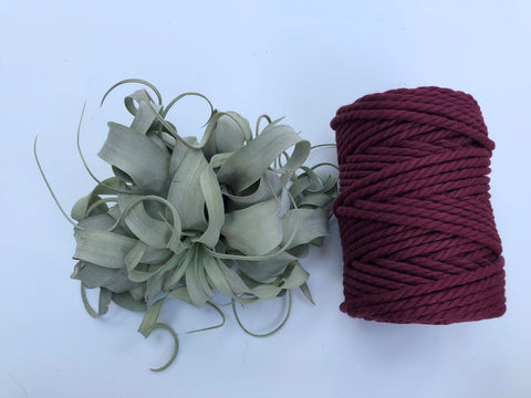 Garnet (dark red), 6mm, 3-ply twisted rope - recycled cotton