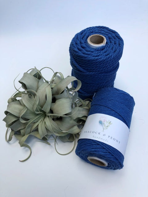 Royal blue, 6mm, 3-ply twisted rope - recycled cotton