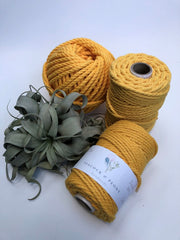 Yellow, 4mm, 3-ply twisted rope - recycled cotton
