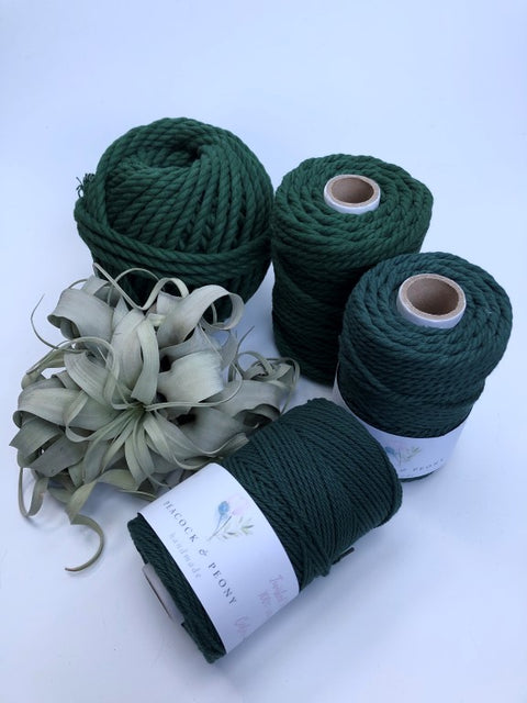 Dark green, 8mm, 3-ply twisted rope - recycled cotton