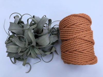 Peach, 6mm, 3-ply twisted rope - recycled cotton