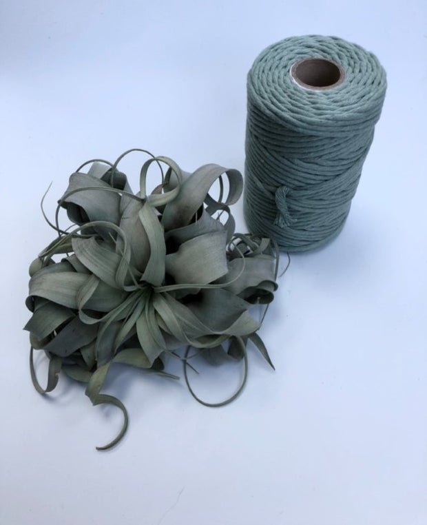 Sage green, 5 mm supersoft single twisted cotton stringrope - recycled cotton