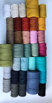 Teal grey, 5 mm supersoft single twisted cotton stringrope - recycled cotton