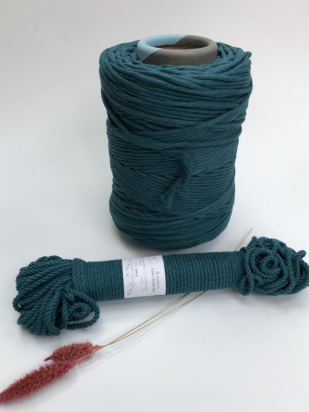Teal - 4mm, 3-ply twisted rope