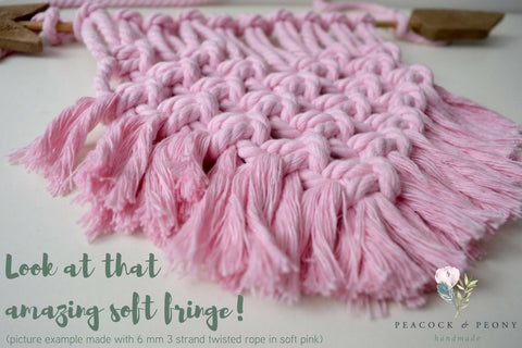 Pale Antique Pink, 6mm, 3-ply twisted rope - recycled cotton