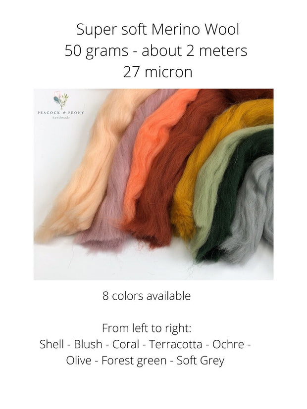 Super soft Merino Wool in 8 gorgeous shades, packages of 50 grams (2 meters)