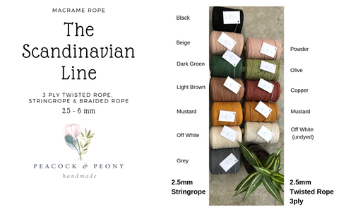 The Scandinavian Line - 2.5mm, 3ply Twisted rope in 5 beautiful colors, 300m per cone