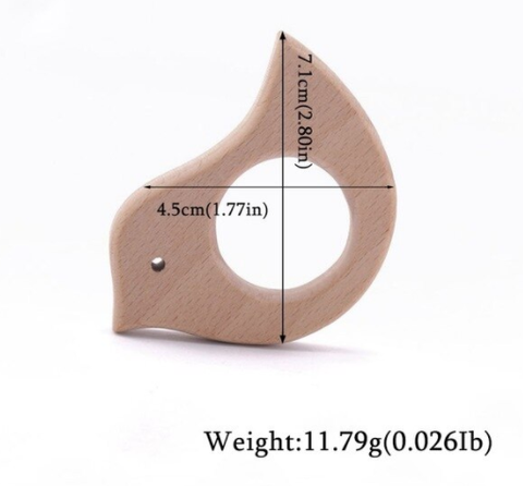 Wooden baby teether in several (animal) shapes