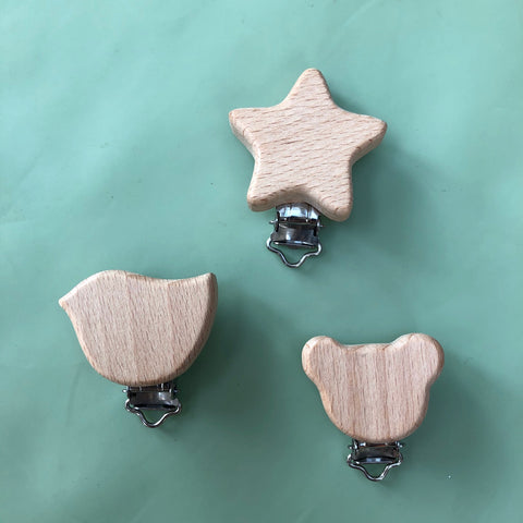 Wooden baby pacifier clips - four different shapes
