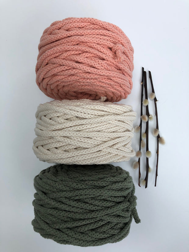 Cotton Air - Avocado - 5mm recycled braided cotton rope (Spanish Line)