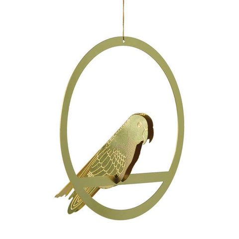 Hanging Brass Bird (Plant) Decoration