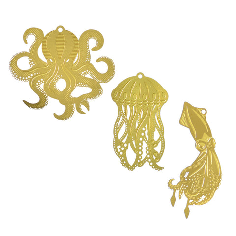 Hanging brass 'Under the sea' (plant) decoration (3 pieces)