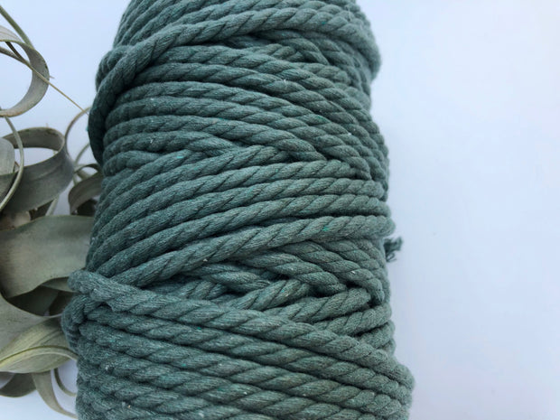 Pine Green, 6mm, 3-ply twisted rope - recycled cotton
