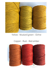 Mustard green, 5 mm supersoft single twisted cotton stringrope - recycled cotton