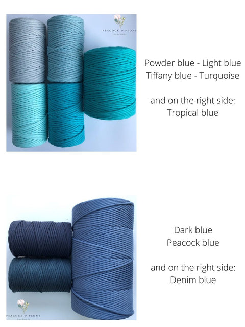 Dark blue, 5 mm supersoft single twisted cotton stringrope - recycled cotton