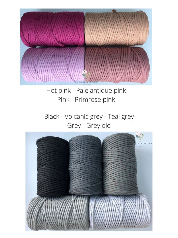 Volcanic grey, 5 mm supersoft single twisted cotton stringrope - recycled cotton