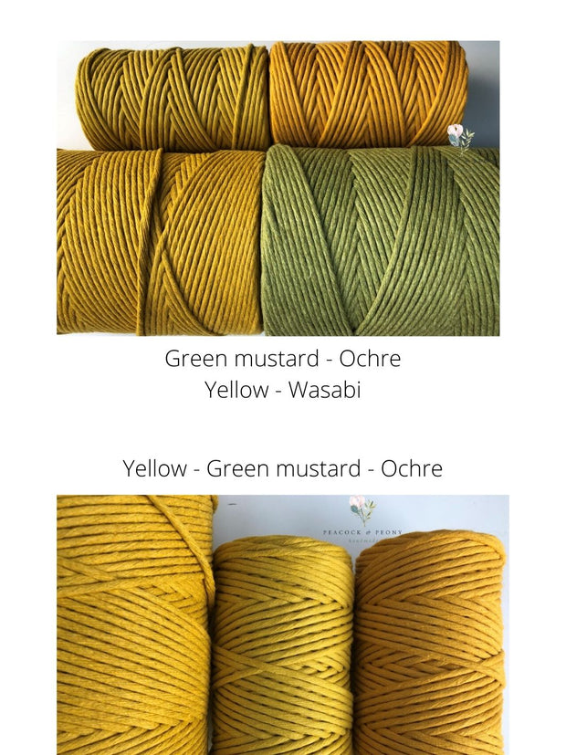 Ochre, 5 mm supersoft single twisted cotton stringrope - recycled cotton