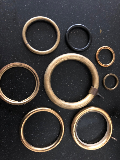 Copper, messing & black iron rings