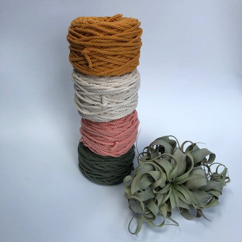 Cotton Air - Mustard- 3mm recycled braided cotton rope (Spanish Line)