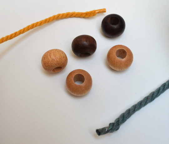 Wooden (macrame) bead ø  2.5 cm with a hole of 1 cm