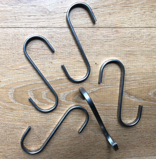 Set of four metal S-hooks - handy to hang your macrame while working on it!