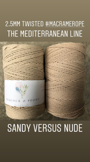 Nude, 2.5mm, 3-ply twisted rope - recycled cotton