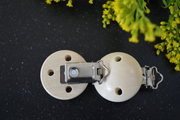 Wooden Pacifier (baby) Clip - Ø 3.5 cm (with little holes in the wood)