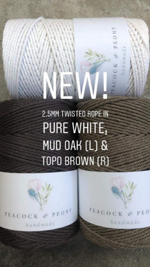 Topo brown, 2.5mm, 3-ply twisted rope - recycled cotton