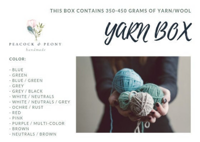 Yarn Box - 350-450 grams of mixes yarn/wool in several colors
