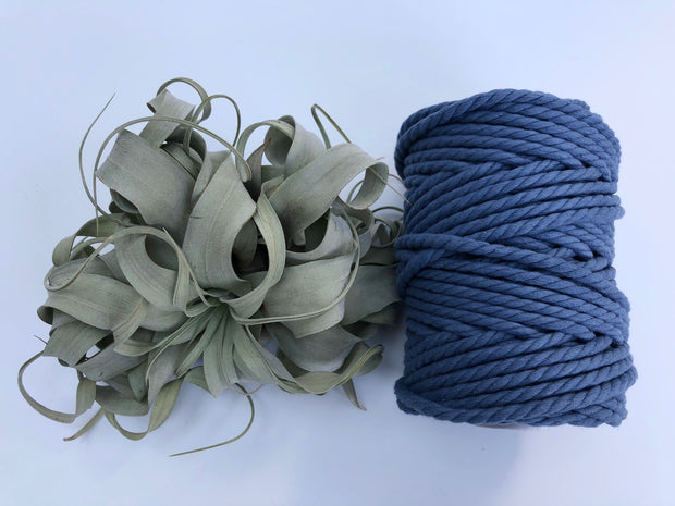 Denim Blue, 6mm, 3-ply twisted rope - recycled cotton