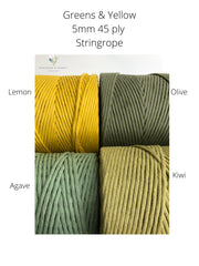 Lemon, 5 mm supersoft single twisted cotton stringrope - recycled cotton