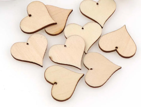 10 little wooden heart tags with hole to hang it