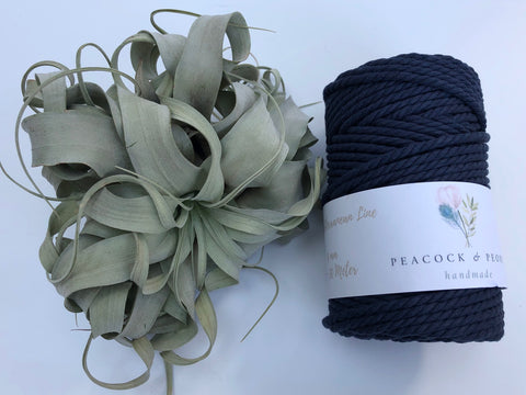 Dark blue, 4mm, 3-ply twisted rope - recycled cotton