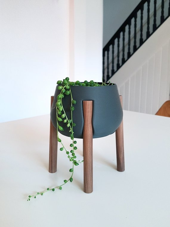 3D printed planters - dark grey with walnut legs - 2 sizes