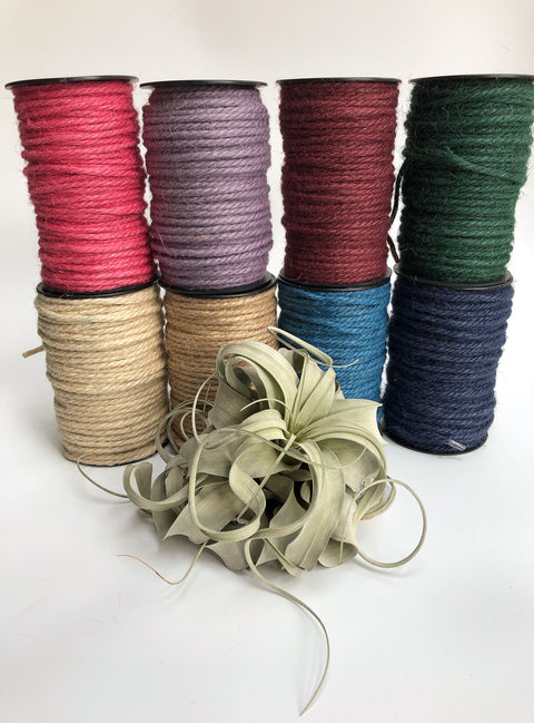 Twisted 4mm jute rope in several colors, 60m per cone