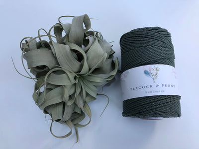 Pine green, 2.5mm, 3-ply twisted rope - recycled cotton
