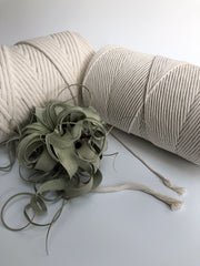 Off white 8 mm, 130 plies supersoft single twisted cotton stringrope - recycled cotton
