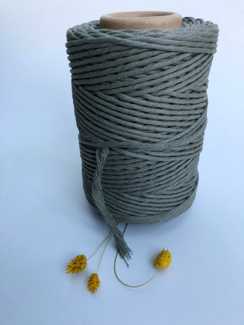 Sage Green - 3 and 5 mm supersoft single twisted cotton stringrope