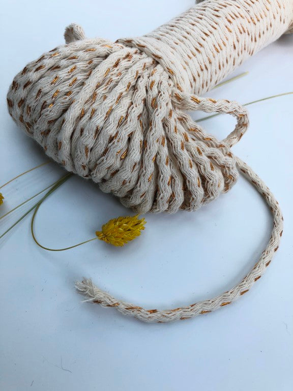 Metallic-Cotton Braided Rope 5mm in COPPER - 50m per bundle.