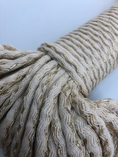 Metallic-Cotton Braided Rope 5mm in GOLD - 50m per bundle.