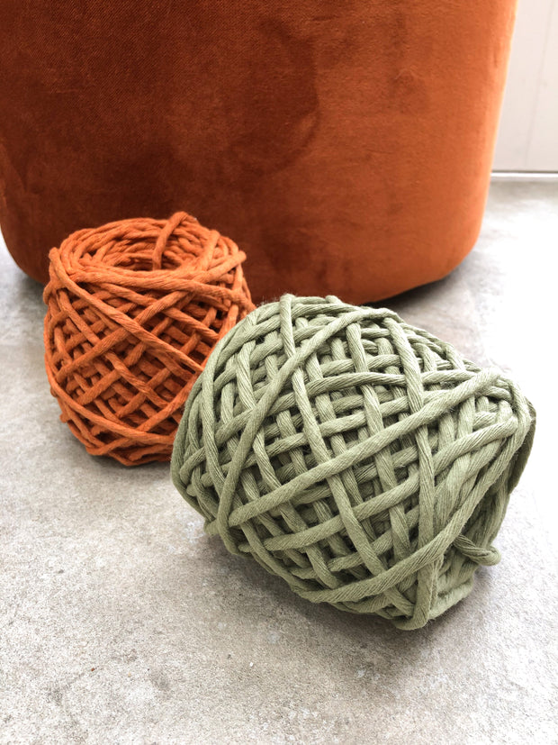 Olive, 5 mm supersoft single twisted cotton stringrope - recycled cotton