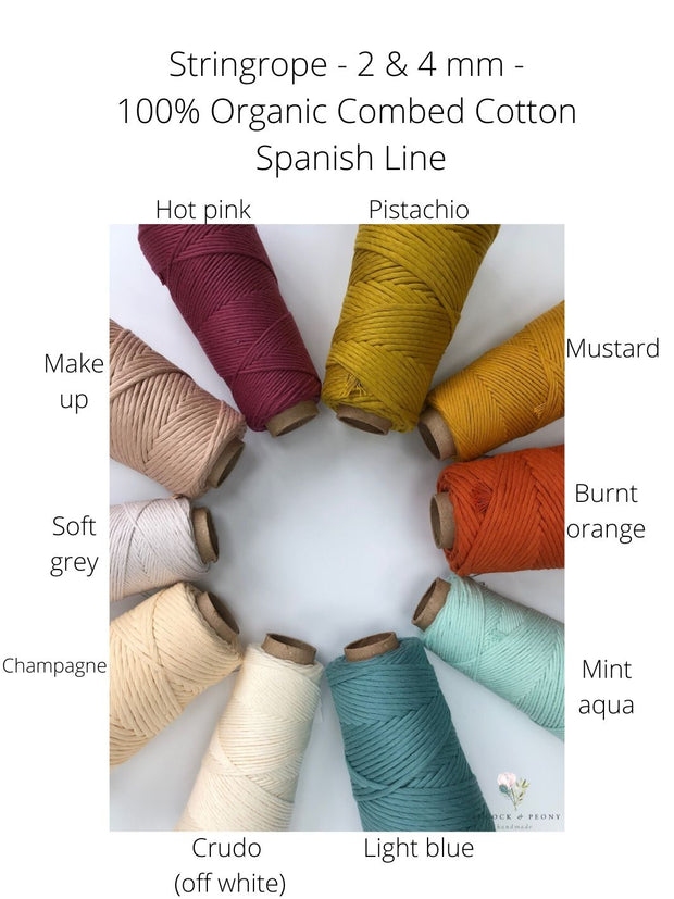 Stringrope - 4 mm - Soft blue- 100% Organic Combed Cotton (Spanish line)