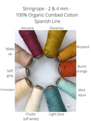 Stringrope - 2 mm - Mustard - 100% Organic Combed Cotton (Spanish line)