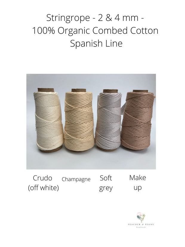Stringrope - 4 mm - Champagne - 100% Organic Combed Cotton (Spanish line)