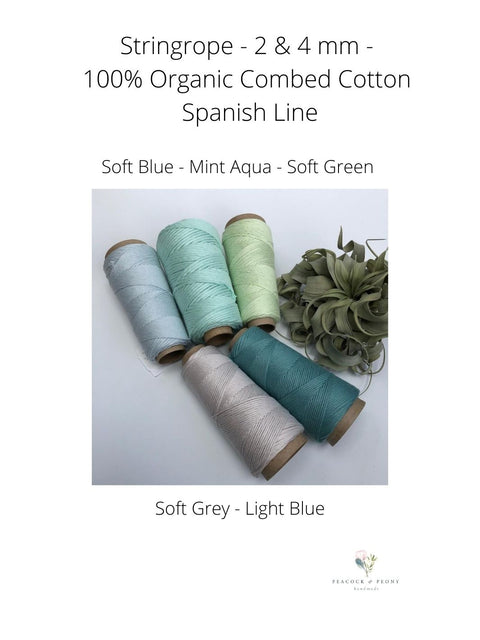 Stringrope - 4 mm - Mint aqua - 100% Organic Combed Cotton (Spanish line)