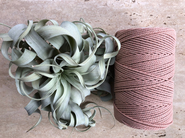 Pale Antique Pink, 2.5mm, 3-ply twisted rope - recycled cotton