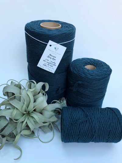 Peacock Blue, 5 mm supersoft single twisted cotton stringrope - recycled cotton