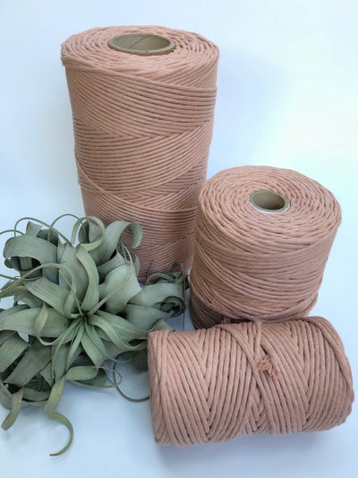Pale antique pink, 5 mm supersoft single twisted cotton stringrope - recycled cotton